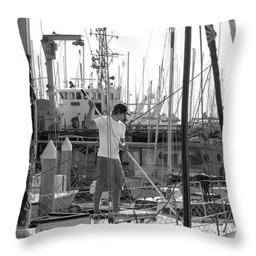 Swabbing The Deck Throw Pillow by Betty LaRue