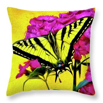 Swallow Tail Feeding Throw Pillow by James Steele