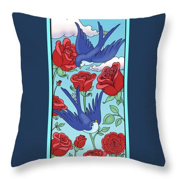 Swallows And Roses Throw Pillow by Eleanor Hofer