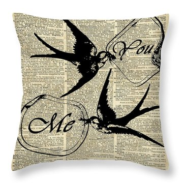 Swallows In Love,flying Birds Vintage Dictionary Art Throw Pillow