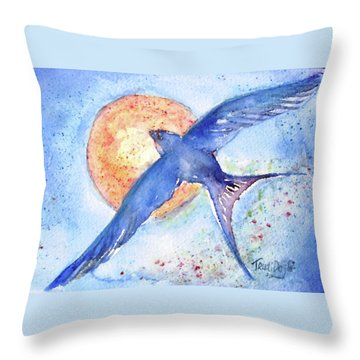 Throw Pillow featuring the painting Swallows Return  by Trudi Doyle