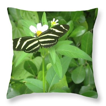 Swallowtail Butterfly On Leaf Throw Pillow