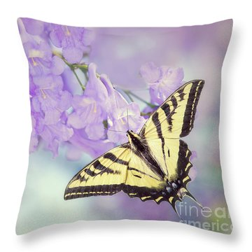 Swallowtail On Purple Flowers Throw Pillow