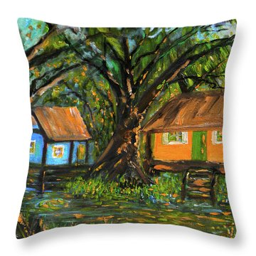 Swamp Cabins Throw Pillow