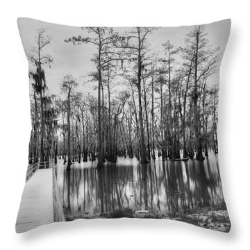 Swamp Dock Black And White Throw Pillow by Ester  Rogers