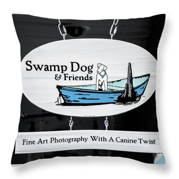 Swamp Dog And Friends Throw Pillow