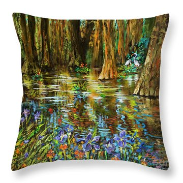 Swamp Iris Throw Pillow by Dianne Parks