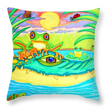 Swamp Life Throw Pillow by Nick Gustafson