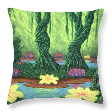 Swamp Things 02, Diptych Panel A Throw Pillow