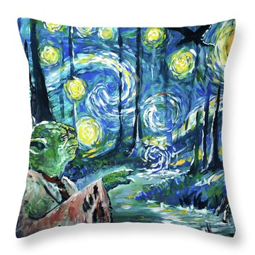 Swampy Night Throw Pillow by Tom Carlton