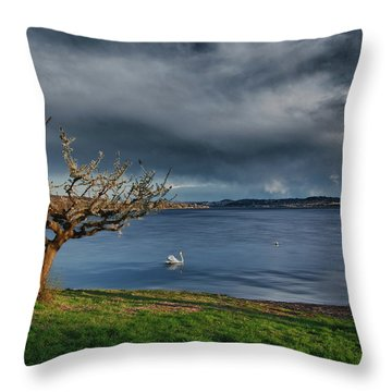 Swan And Tree Throw Pillow