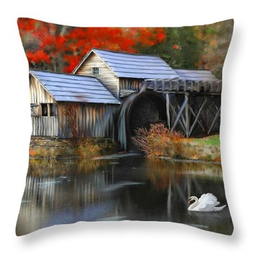 Swan At Mabry Mill Throw Pillow
