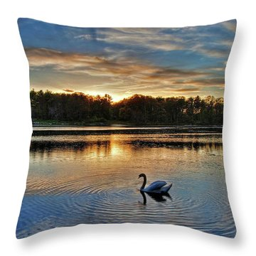 Swan At Sunset Throw Pillow