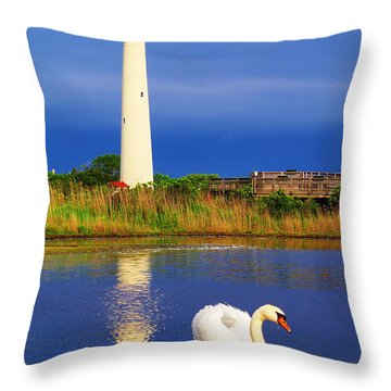 Swan At The Lighthouse Throw Pillow by Nick Zelinsky