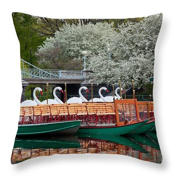 Swan Boat Spring Throw Pillow by Susan Cole Kelly