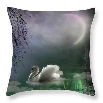 Swan By Moonlight Throw Pillow