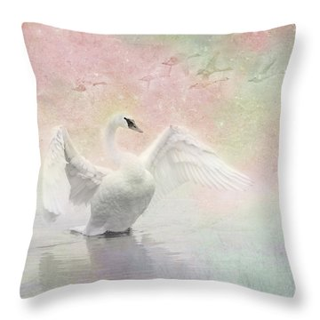 Swan Dream - Display Spring Pastel Colors Throw Pillow