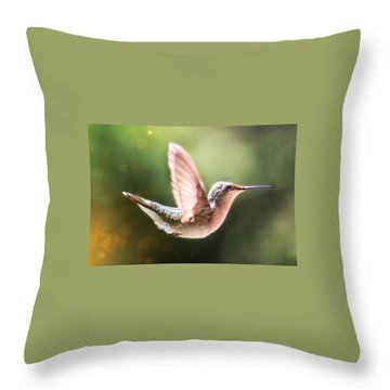 Swan Dive Hummingbird Throw Pillow
