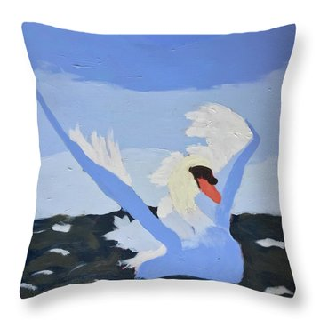 Throw Pillow featuring the painting Swan by Donald J Ryker III