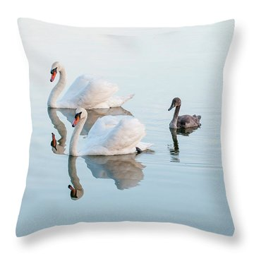 Swan Family Throw Pillow