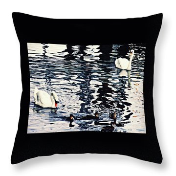 Throw Pillow featuring the photograph Swan Family On The Rhine by Sarah Loft