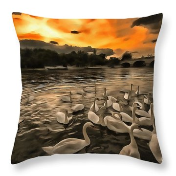 Swan Gloaming Kingston U K Throw Pillow