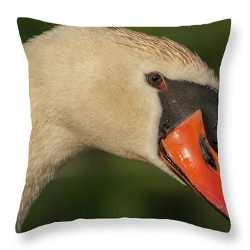 Swan Headshot Throw Pillow