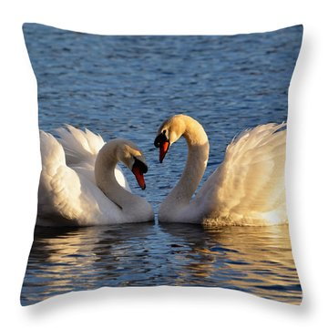 Swan Heart Throw Pillow by Mats Silvan