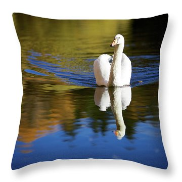 Swan In Color Throw Pillow