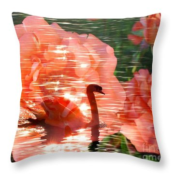 Swan In Lake With Orange Flowers Throw Pillow