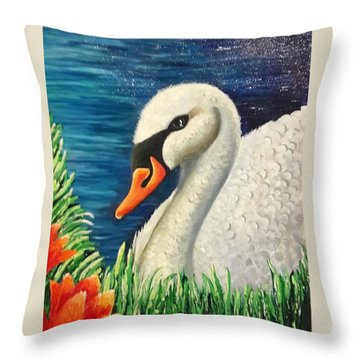 Swan In Pond Throw Pillow