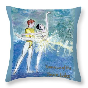 Swan Lake Ballet Poster Throw Pillow by Marie Loh