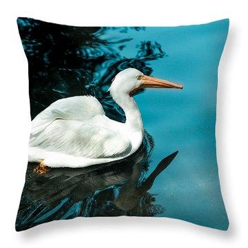 Swan Lake Throw Pillow by Debbie Karnes