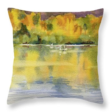 Throw Pillow featuring the painting Swan Lake by Kris Parins