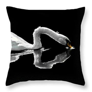 Swan Lake Nature Photo 2121a Throw Pillow
