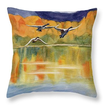 Throw Pillow featuring the painting Swan Lake Revisited by Kris Parins
