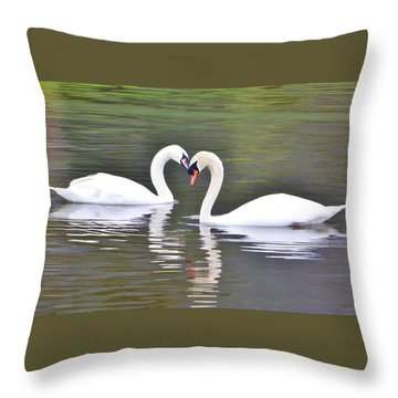 Swan Love Throw Pillow by Diane Alexander