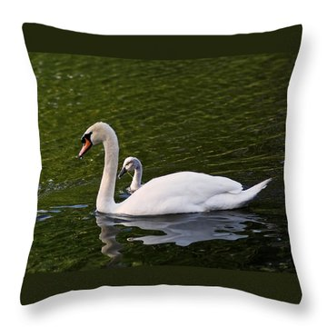 Swan Mother With Cygnet Throw Pillow