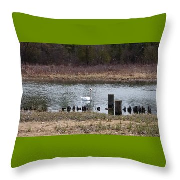 Swan Of Crooked River Throw Pillow by Wendy Shoults