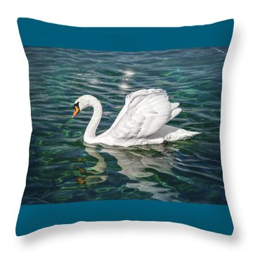 Swan On Lake Geneva Switzerland  Throw Pillow