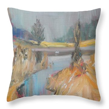 Swan On The Lake Throw Pillow by Ron Wilson