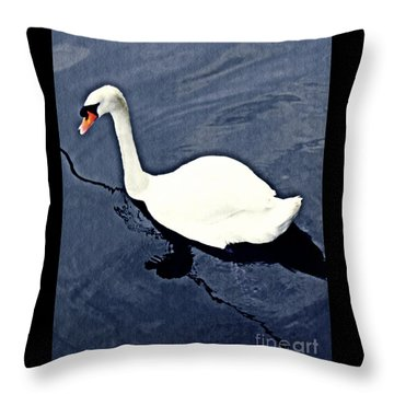 Throw Pillow featuring the photograph Swan On The Rhine by Sarah Loft