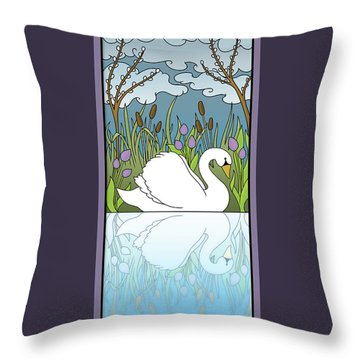 Swan On The River Throw Pillow by Eleanor Hofer