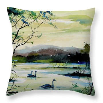 Swan Pond Throw Pillow by Art Scholz