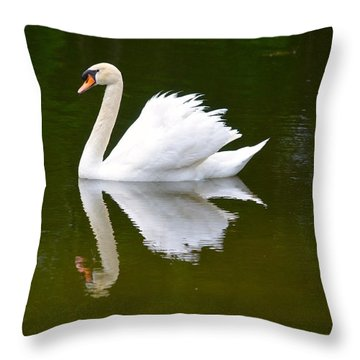 Swan Reflecting Throw Pillow