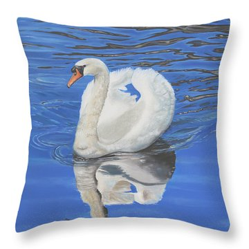 Throw Pillow featuring the painting Swan Reflection by Elizabeth Lock