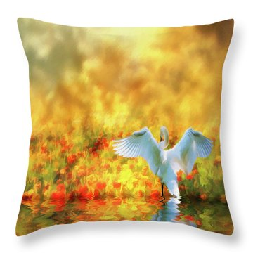Swan Song At Sunset Thanks For The Good Day Lord Throw Pillow