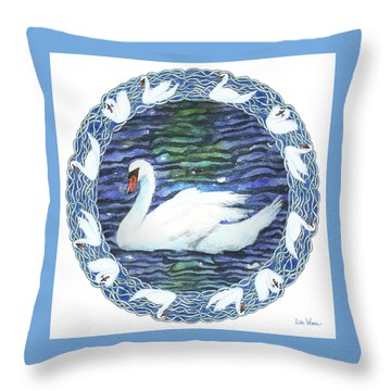 Swan With Knotted Border Throw Pillow