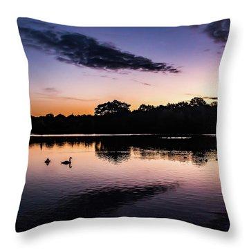 Swans At Sunrise Throw Pillow