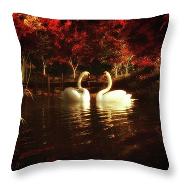Swans In A Pond Throw Pillow